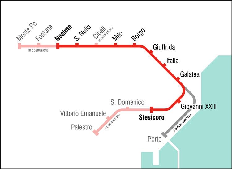 Mappa metropolitana Catania